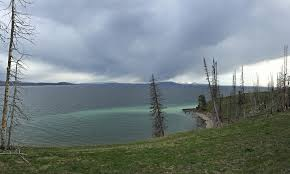 view from the shore of Yellowstone Lake